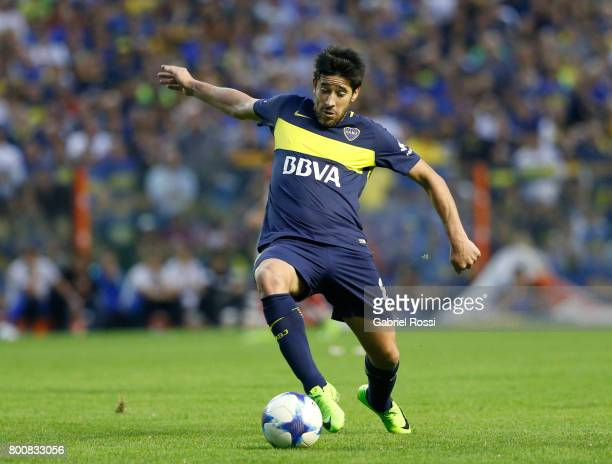 Pablo Perez of Boca Juniors kicks the ball during a match between Boca Juniors and Union as part of Torneo Primera Division 2016/17 at Alberto J...