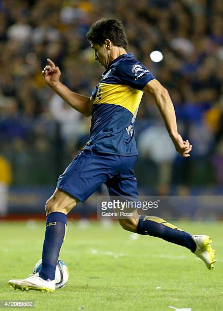 Pablo Perez of Boca Juniors shoots to score the second goal of his team during a match between Boca Juniors and River Plate as part of 11th round of...