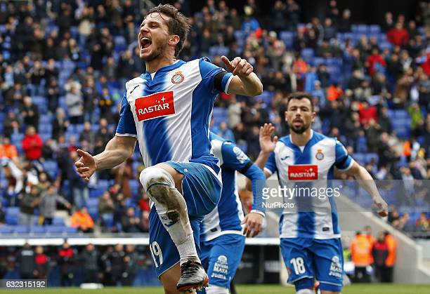 Pablo Piatti celebration during the match between RCD Espanyol and Granada CF on January 21 2017
