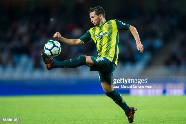 Pablo Piatti of RCD Espanyol controls the ball during the La Liga match between Real Sociedad de Futbol and RCD Espanyol at Estadio Anoeta on October...