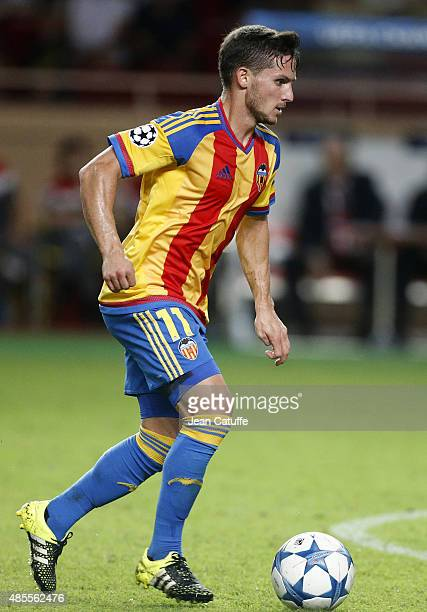 Pablo Piatti of Valencia CF in action during the UEFA Champions League play off round 2nd leg between AS Monaco and Valencia CF at Stade Louis II on...