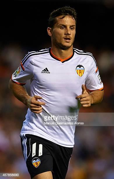 Pablo Piatti of Valencia looks on during the La Liga match between Valencia CF and Elche CF at Estadio Mestalla on October 25 2014 in Valencia Spain