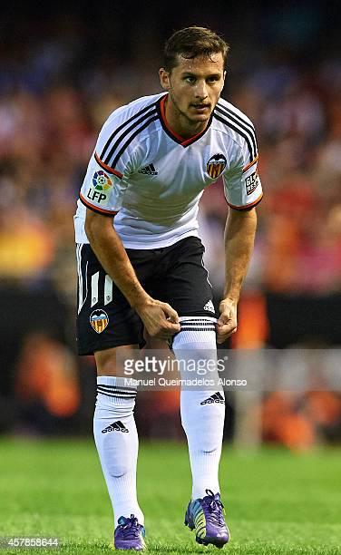 Pablo Piatti of Valencia reacts during the La Liga match between Valencia CF and Elche CF at Estadio Mestalla on October 25 2014 in Valencia Spain