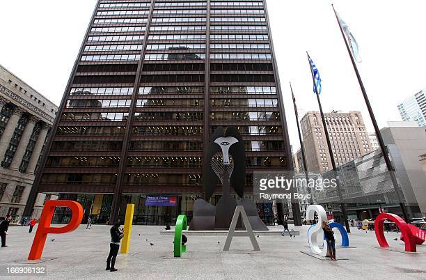 Pablo Picasso artwork is displayed in Daley Plaza in Chicago Illinois on APRIL 12