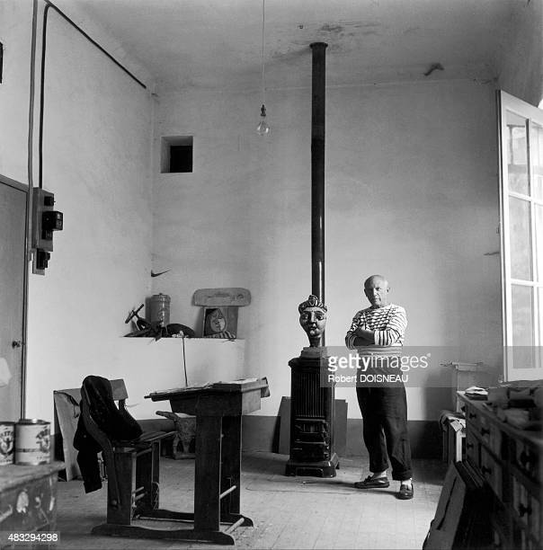 Pablo Picasso in his studio 1952 in Vallauris France