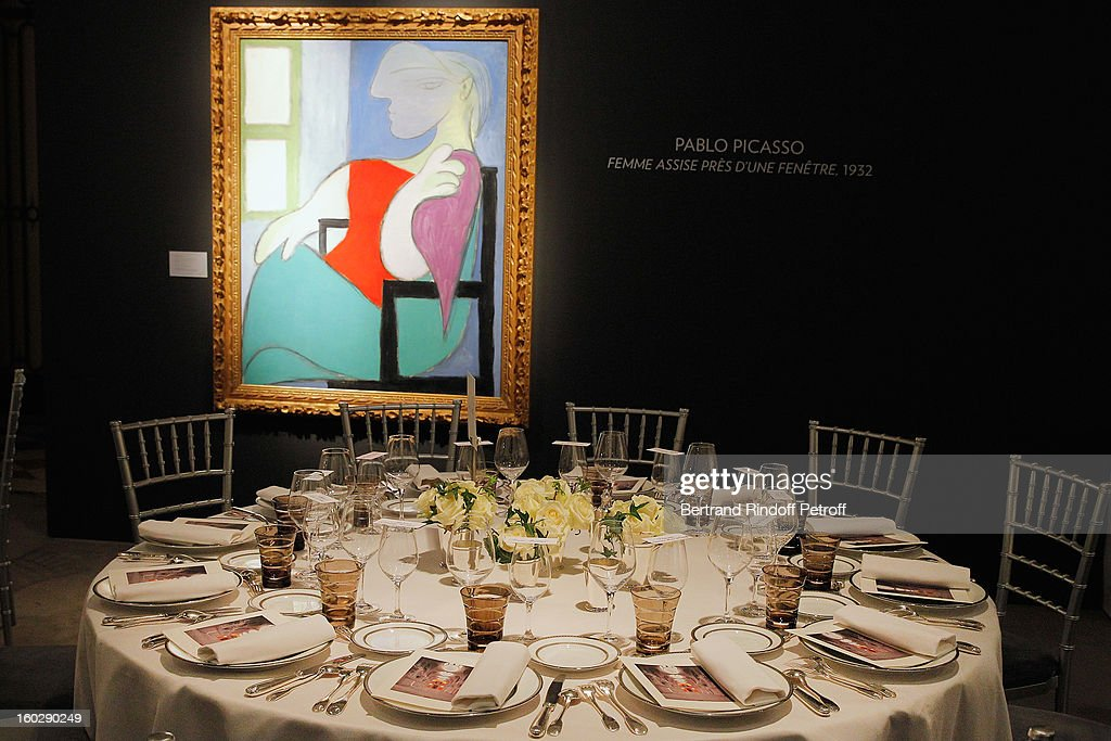 Pablo Picasso's 'Femme assise près d'une fenetre' (Seated woman near a window), a 1932 portrait of the artists's famed muse Marie-Therese Walter, is seen prior to a dinner in honor of Helene David-Weill, who presided through 1994 - 2012 Les Arts Decoratifs, one of the largest decorative arts museums in the world, at Sotheby's on January 28, 2013 in Paris, France.