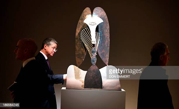 Pablo Picasso's 'Tête ' is displayed October 31 2013 at Christie's in New York The cut and welded steel is part of A Dialogue Through Art Works from...