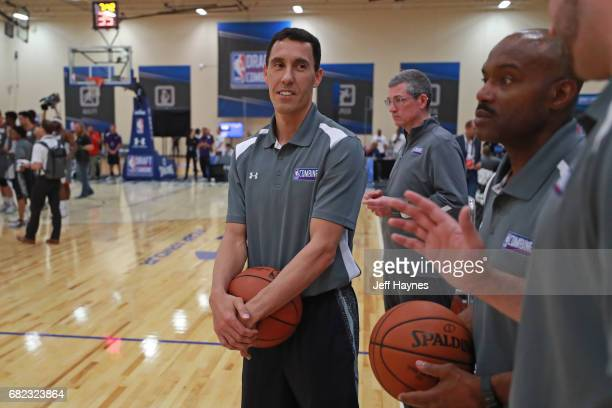 Pablo Prigioni helps run drills during the NBA Draft Combine at the Quest Multisport Center on May 11 2017 in Chicago Illinois NOTE TO USER User...