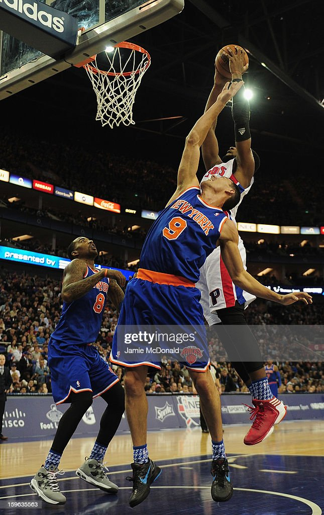 Pablo Prigioni of New York Knicks tries to block the shot from Will Bynum of Detroit Pistons during the NBA London Live 2013 game between New York Knicks and the Detroit Pistons at the O2 Arena on January 17, 2013 in London, England.