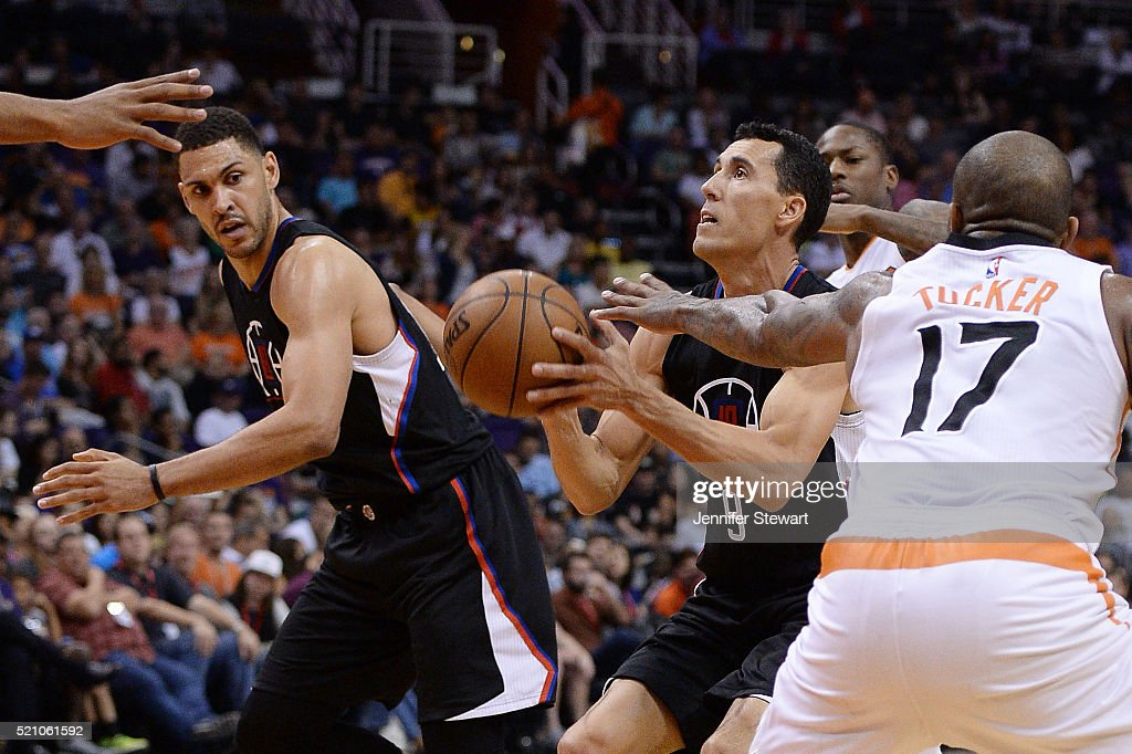 Pablo Prigioni #9 of the Los Angeles Clippers looks to shoot the ball in traffic during the NBA game against the Phoenix Suns at Talking Stick Resort Arena on April 13, 2016 in Phoenix, Arizona. The Suns defeated the Clippers 114 - 105.