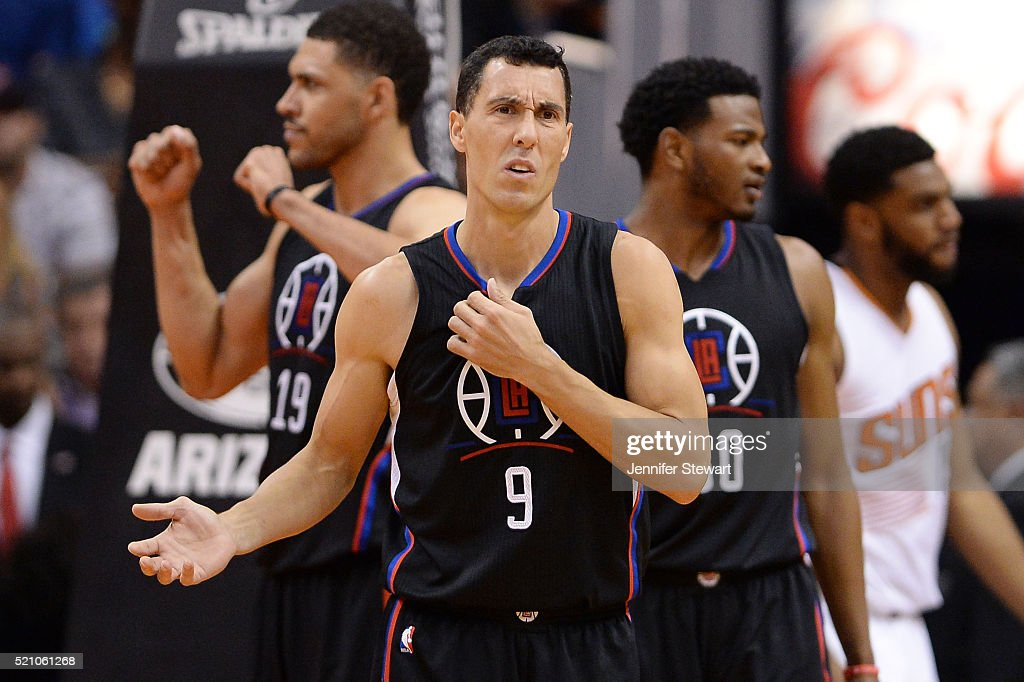Pablo Prigioni #9 of the Los Angeles Clippers reacts to a call made in the first half of the NBA game against the Phoenix Suns at Talking Stick Resort Arena on April 13, 2016 in Phoenix, Arizona. The Suns defeated the Clippers 114 - 105.