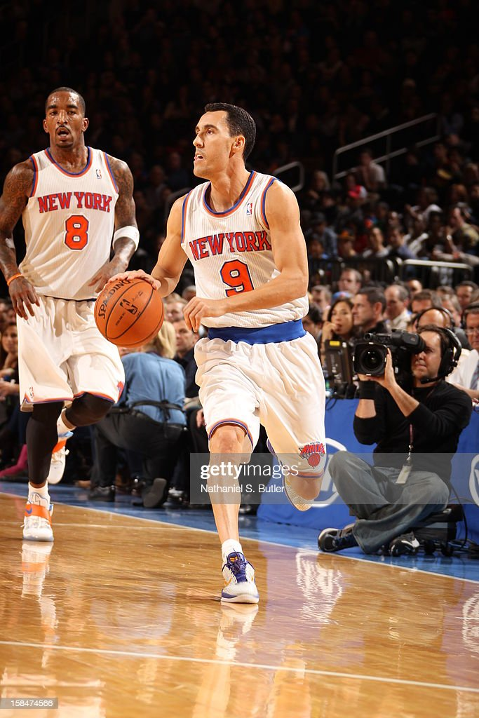 Pablo Prigioni #9 of the New York Knicks brings the ball up court against the Washington Wizards on November 30 2012 at Madison Square Garden in New York City.