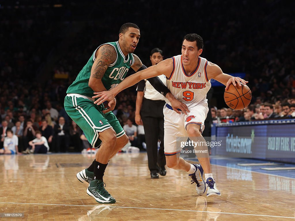 Pablo Prigioni #9 of the New York Knicks dribbles the ball against the Boston Celtics at Madison Square Garden on January 7, 2013 in New York City.