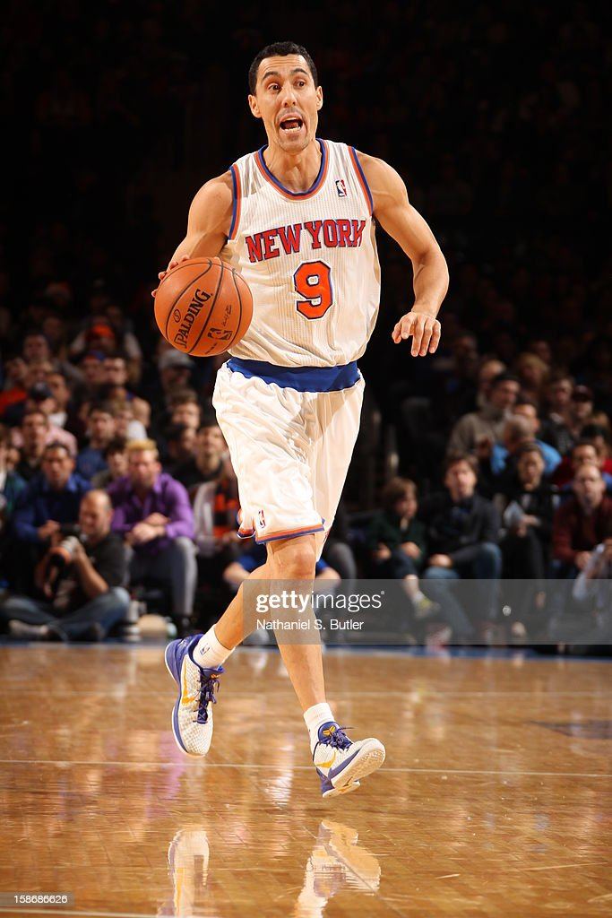 Pablo Prigioni #9 of the New York Knicks dribbles up court during a game played against the Minnesota Timberwolves on December 23, 2012 at Madison Square Garden in New York City.