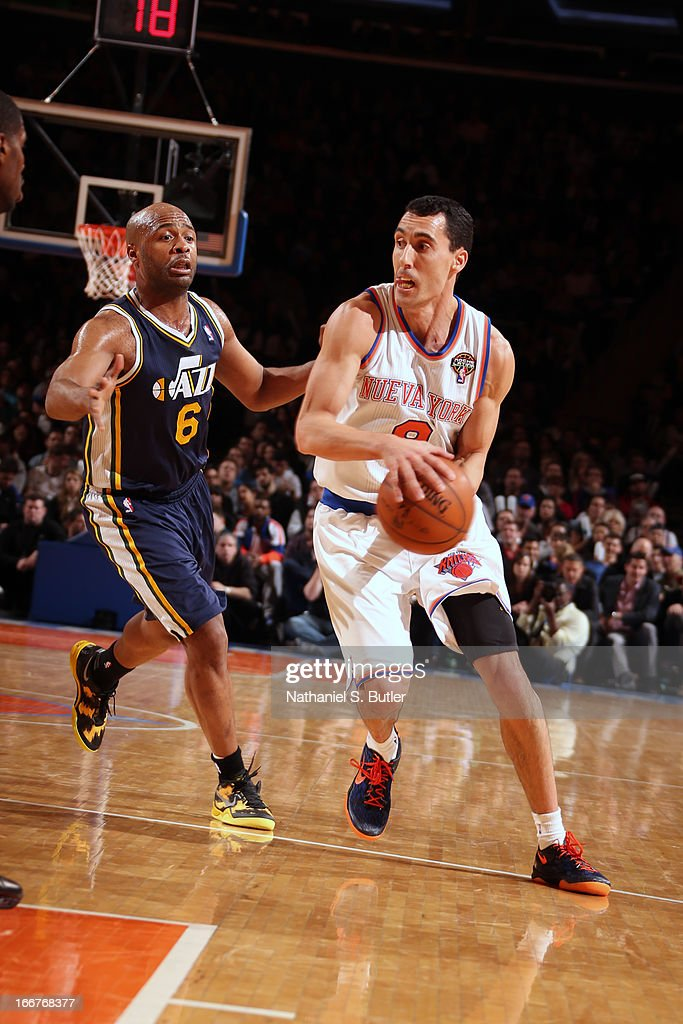 <a gi-track='captionPersonalityLinkClicked' href=/galleries/search?phrase=Pablo+Prigioni&family=editorial&specificpeople=664673 ng-click='$event.stopPropagation()'>Pablo Prigioni</a> #9 of the New York Knicks drives against <a gi-track='captionPersonalityLinkClicked' href=/galleries/search?phrase=Jamaal+Tinsley&family=editorial&specificpeople=202203 ng-click='$event.stopPropagation()'>Jamaal Tinsley</a> #6 of the Utah Jazz on March 9, 2013 at Madison Square Garden in New York City.