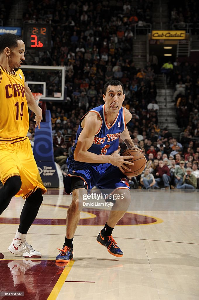 Pablo Prigioni #9 of the New York Knicks drives against the Cleveland Cavaliers at The Quicken Loans Arena on March 4, 2013 in Cleveland, Ohio.