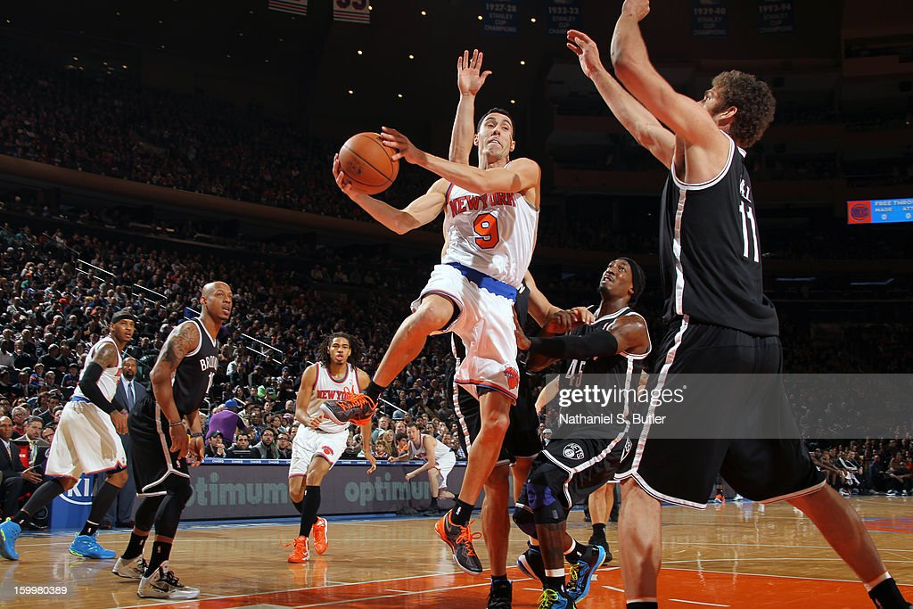 Pablo Prigioni #9 of the New York Knicks drives to the basket against the Brooklyn Nets on January 21, 2013 at Madison Square Garden in New York City.