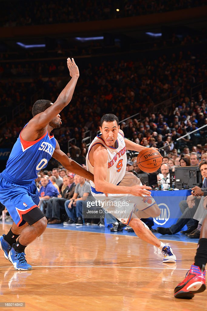 <a gi-track='captionPersonalityLinkClicked' href=/galleries/search?phrase=Pablo+Prigioni&family=editorial&specificpeople=664673 ng-click='$event.stopPropagation()'>Pablo Prigioni</a> #9 of the New York Knicks drives to the basket against the Philadelphia 76ers on February 24, 2013 at Madison Square Garden in New York City, New York.