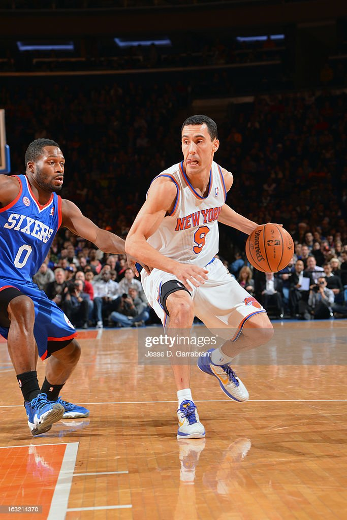 Pablo Prigioni #9 of the New York Knicks drives to the basket against the Philadelphia 76ers on February 24, 2013 at Madison Square Garden in New York City, New York.