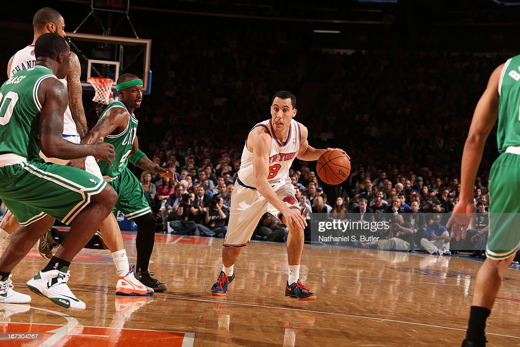 Pablo Prigioni #9 of the New York Knicks drives to the basket against the Boston Celtics in Game Two of the Eastern Conference Quarterfinals during the 2013 NBA Playoffs on April 23, 2013 at Madison Square Garden in New York City.