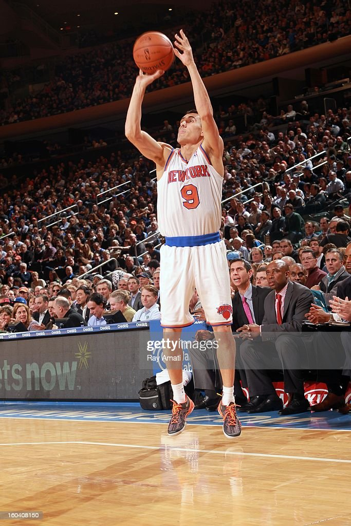 Pablo Prigioni #9 of the New York Knicks goes for a jump shot during the game between the New York Knicks and the Orlando Magic on January 30, 2013 at Madison Square Garden in New York City .