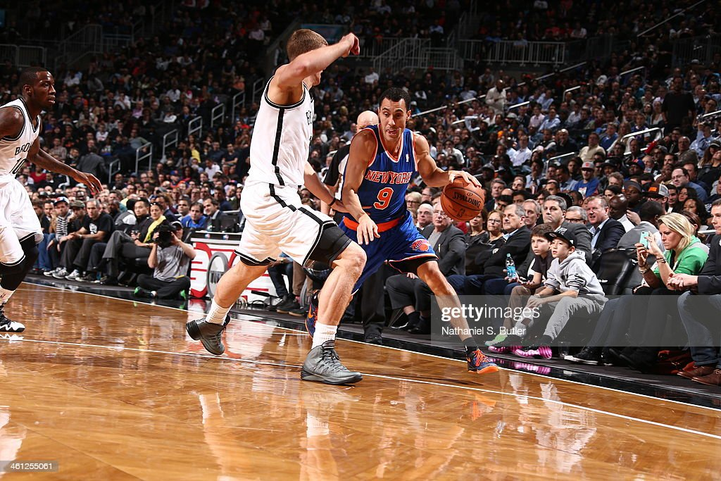 Pablo Prigioni #9 of the New York Knicks going to the basket in a game against the Brooklyn Nets during a game at Barclays Center on December 5, 2013 in the Brooklyn borough of New York City.