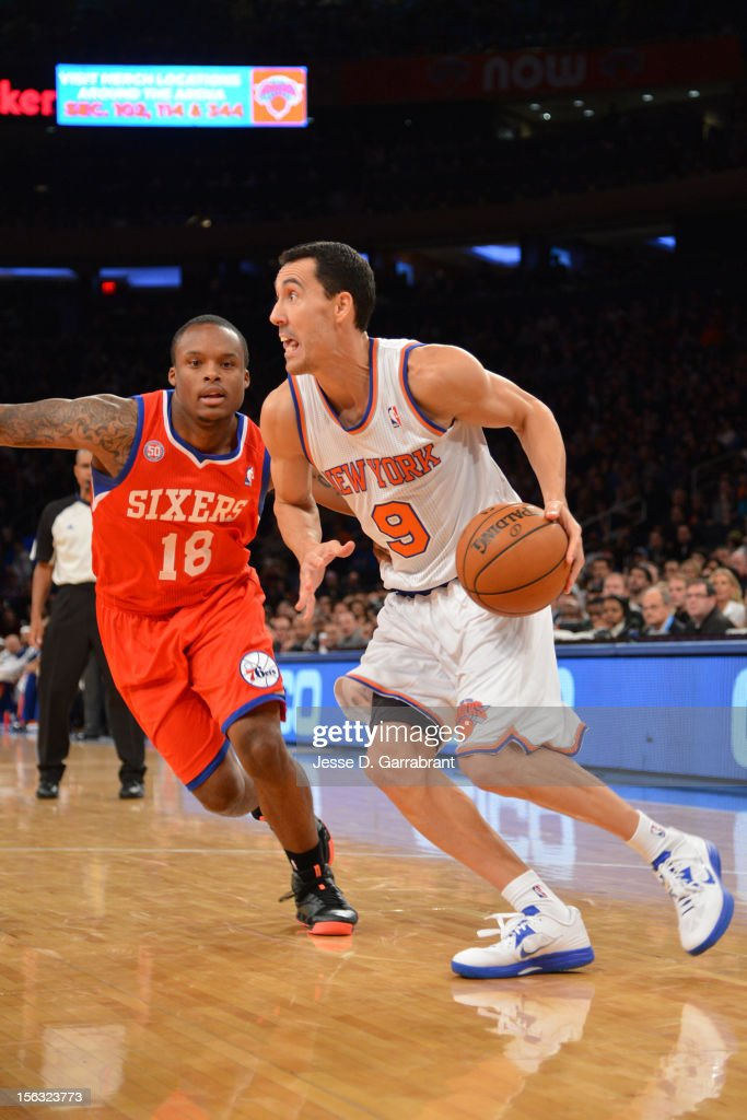 <a gi-track='captionPersonalityLinkClicked' href=/galleries/search?phrase=Pablo+Prigioni&family=editorial&specificpeople=664673 ng-click='$event.stopPropagation()'>Pablo Prigioni</a> #9 of the New York Knicks handles the ball against <a gi-track='captionPersonalityLinkClicked' href=/galleries/search?phrase=Maalik+Wayns&family=editorial&specificpeople=5792005 ng-click='$event.stopPropagation()'>Maalik Wayns</a> #18 of the Philadelphia 76ers on November 4, 2012 at Madison Square Garden in New York City.