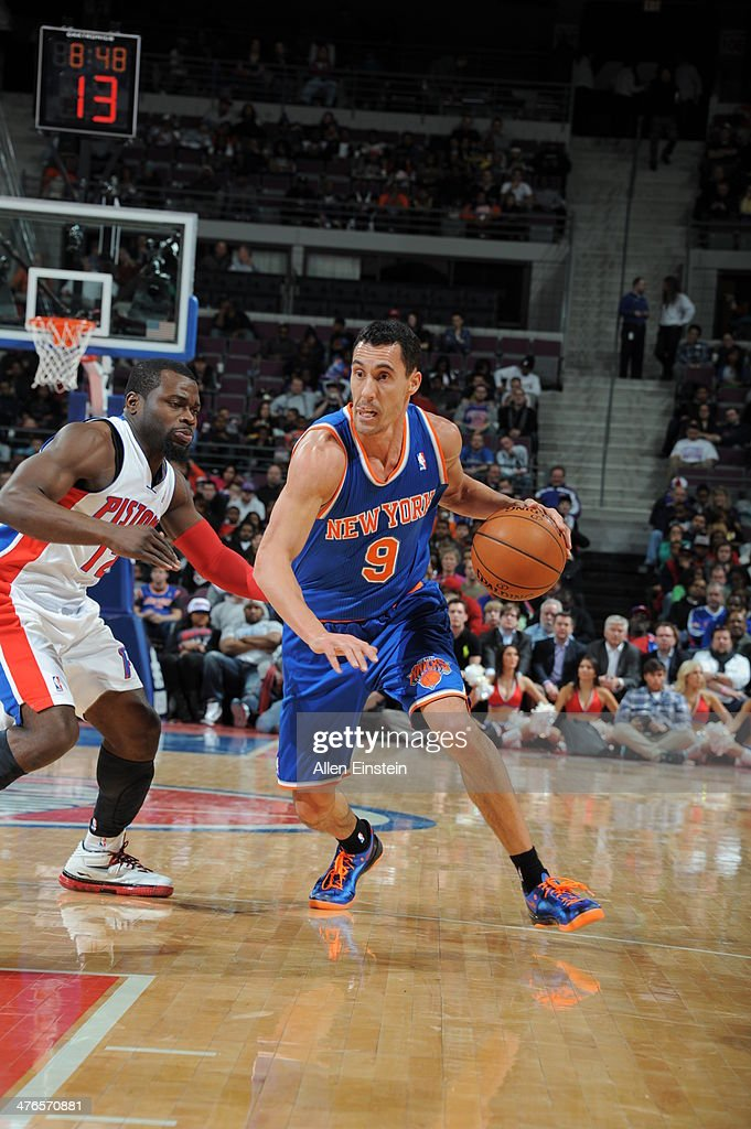 Pablo Prigioni #9 of the New York Knicks handles the ball during a game against the Detroit Pistons on March 3, 2014 at The Palace of Auburn Hills in Auburn Hills, Michigan.