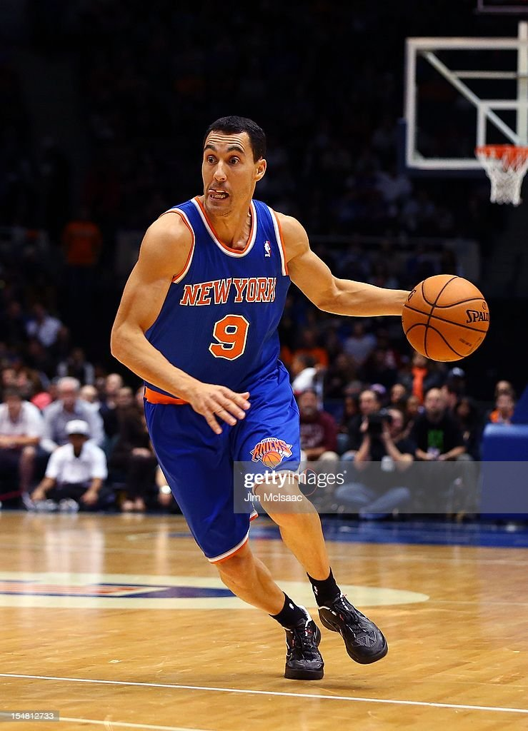Pablo Prigioni #9 of the New York Knicks in action against the Brooklyn Nets during a preseason game at Nassau Coliseum on October 24 2012 in Uniondale, New York The Knicks defeated the Nets 97-95.