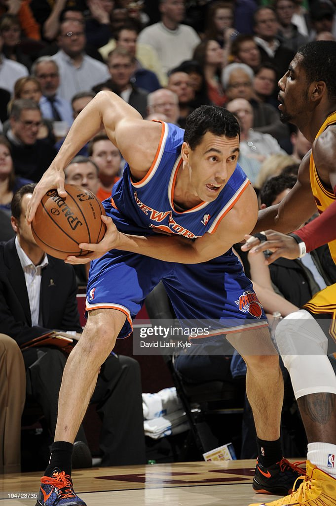 Pablo Prigioni #9 of the New York Knicks looks to drive against the Cleveland Cavaliers at The Quicken Loans Arena on March 4, 2013 in Cleveland, Ohio.