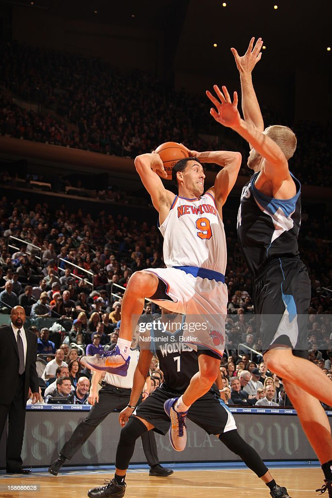 Pablo Prigioni #9 of the New York Knicks looks to pass against Greg Stiemsma #34 of the Minnesota Timberwolves on December 23, 2012 at Madison Square Garden in New York City.