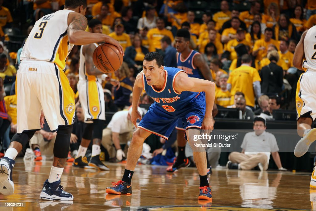 <a gi-track='captionPersonalityLinkClicked' href=/galleries/search?phrase=Pablo+Prigioni&family=editorial&specificpeople=664673 ng-click='$event.stopPropagation()'>Pablo Prigioni</a> #9 of the New York Knicks plays defense against the Indiana Pacers in Game Three of the Eastern Conference Semifinals during the 2013 NBA Playoffs on May 11, 2013 at the Bankers Life Fieldhouse in Indianapolis.