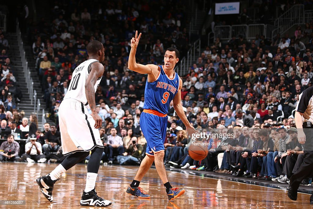 <a gi-track='captionPersonalityLinkClicked' href=/galleries/search?phrase=Pablo+Prigioni&family=editorial&specificpeople=664673 ng-click='$event.stopPropagation()'>Pablo Prigioni</a> #9 of the New York Knicks running a play during a game against the Brooklyn Nets during a game at Barclays Center on December 5, 2013 in the Brooklyn borough of New York City.