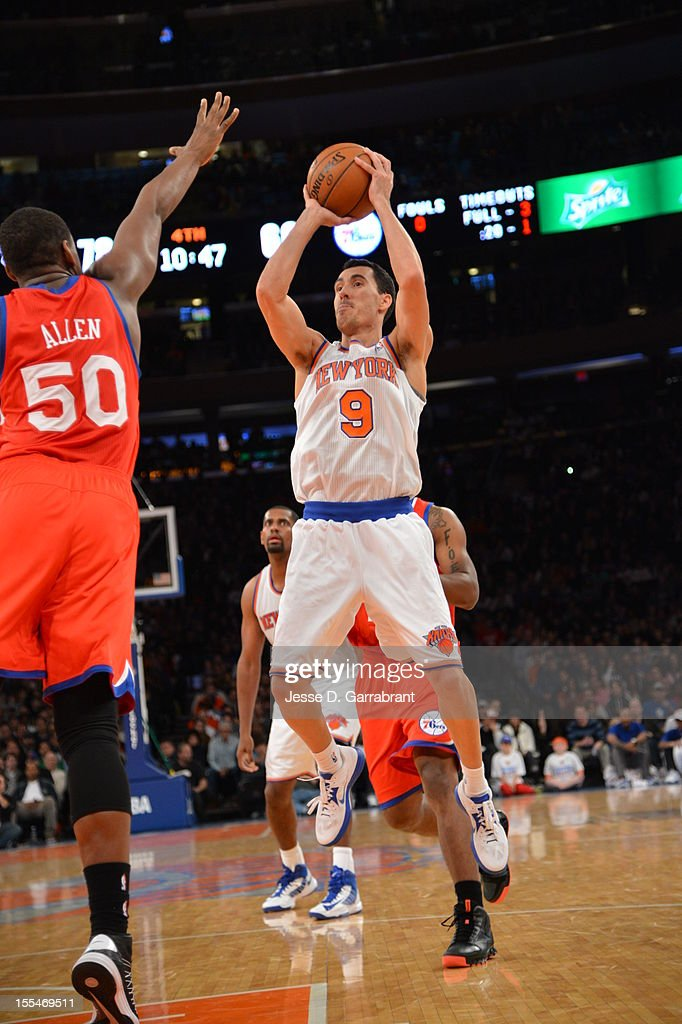 Pablo Prigioni #9 of the New York Knicks shoots a jump shot vs Lavoy Allen #50 of the Philadelphia 76ers on November 4, 2012 at Madison Square Garden in New York City.