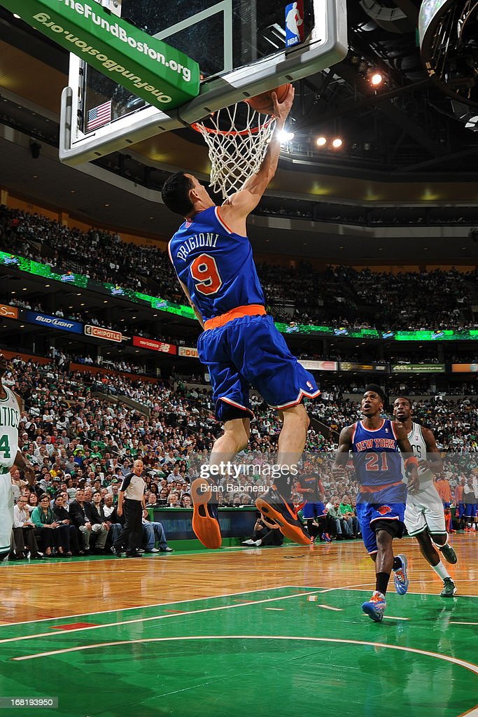 Pablo Prigioni #9 of the New York Knicks shoots a reverse layup against the Boston Celtics in Game Six of the Eastern Conference Quarterfinals during the NBA Playoffs on May 3, 2013 at the TD Garden in Boston, Massachusetts.