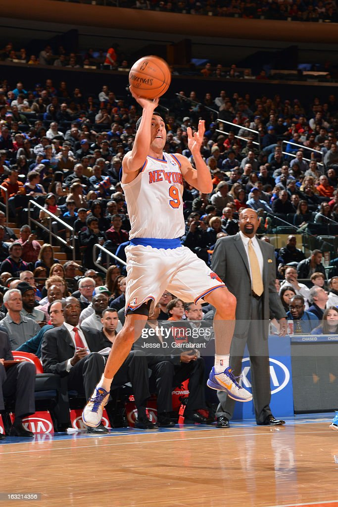 Pablo Prigioni #9 of the New York Knicks takes a shot against the Philadelphia 76ers on February 24, 2013 at Madison Square Garden in New York City, New York.