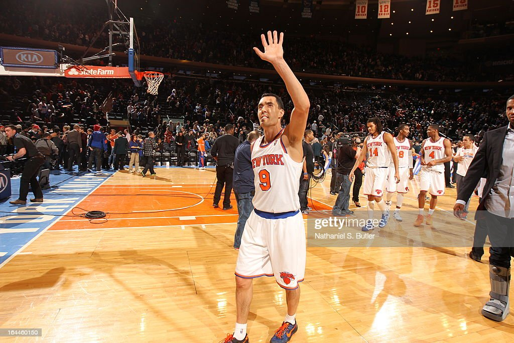 <a gi-track='captionPersonalityLinkClicked' href=/galleries/search?phrase=Pablo+Prigioni&family=editorial&specificpeople=664673 ng-click='$event.stopPropagation()'>Pablo Prigioni</a> #9 of the New York Knicks waves to the fans after defeating the Toronto Raptors at home on March 23, 2013 at Madison Square Garden in New York City.