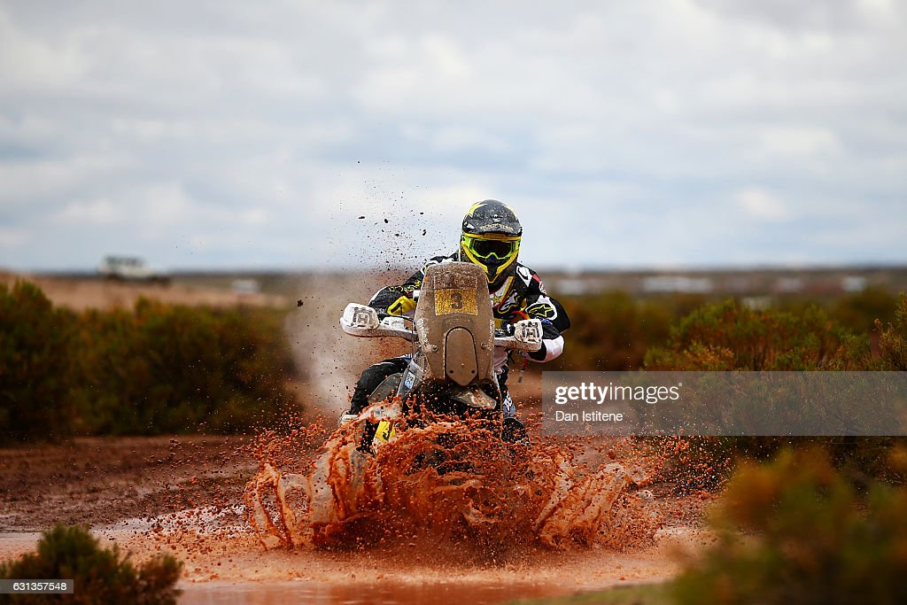 Pablo Quintanilla of Chile and Husqvarna Rally Racing Team rides a FR 450 Rally Husqvarna bike in the Elite ASO during stage seven of the 2017 Dakar Rally between La Paz and Uyuni on January 9, 2017 at an unspecified location in Bolivia.