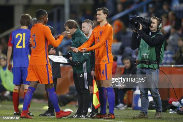 Pablo Rosario of Jong Oranje Justin Hoogma of Jong Oranje during the EURO U21 2017 qualifying match between Netherlands U21 and Andorra U21 at the...
