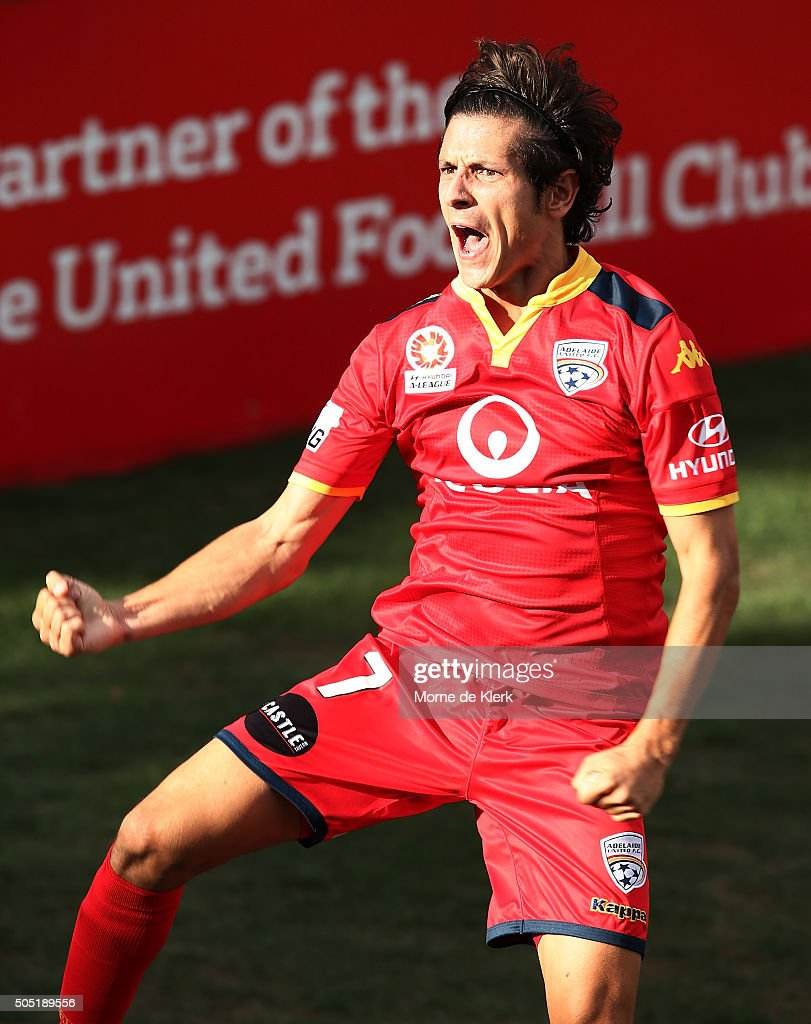 Pablo Sanchez Alberto of Adelaide United celebrates after scoring a goal during the round 15 ALeague match between Adelaide United and the Central...