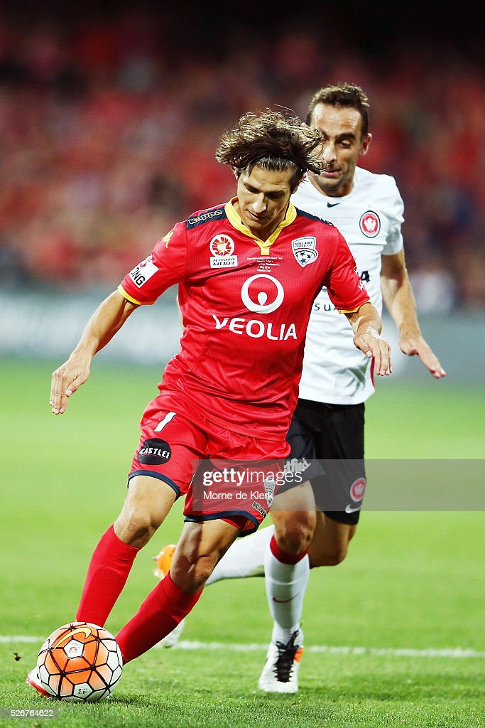 Pablo Sanchez Alberto of Adelaide United wins the ball during the 2015/16 A-League Grand Final match between Adelaide United and the Western Sydney Wanderers at the Adelaide Oval on May 1, 2016 in Adelaide, Australia.