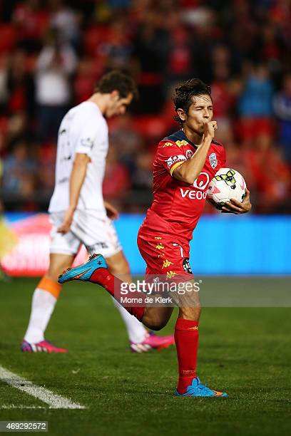 Pablo Sanchez Alberto of United celebrates after scoring a goal from a penalty during the round 25 ALeague match between Adelaide United and the...