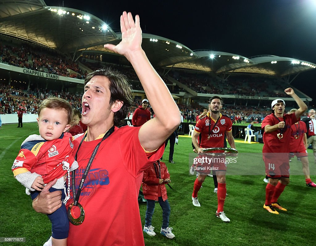 Pablo Sanchez Alberto of United celebrates after United defeated the Wanderers after the 2015/16 A-League Grand Final match between Adelaide United and the Western Sydney Wanderers at Adelaide Oval on May 1, 2016 in Adelaide, Australia.