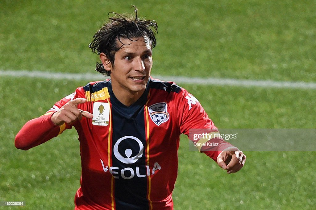 Pablo Sanchez Alberto of United reacts after scoring a goal during the FFA Cup Round of 16 match between Adelaide United and Sydney FC at Coopers...