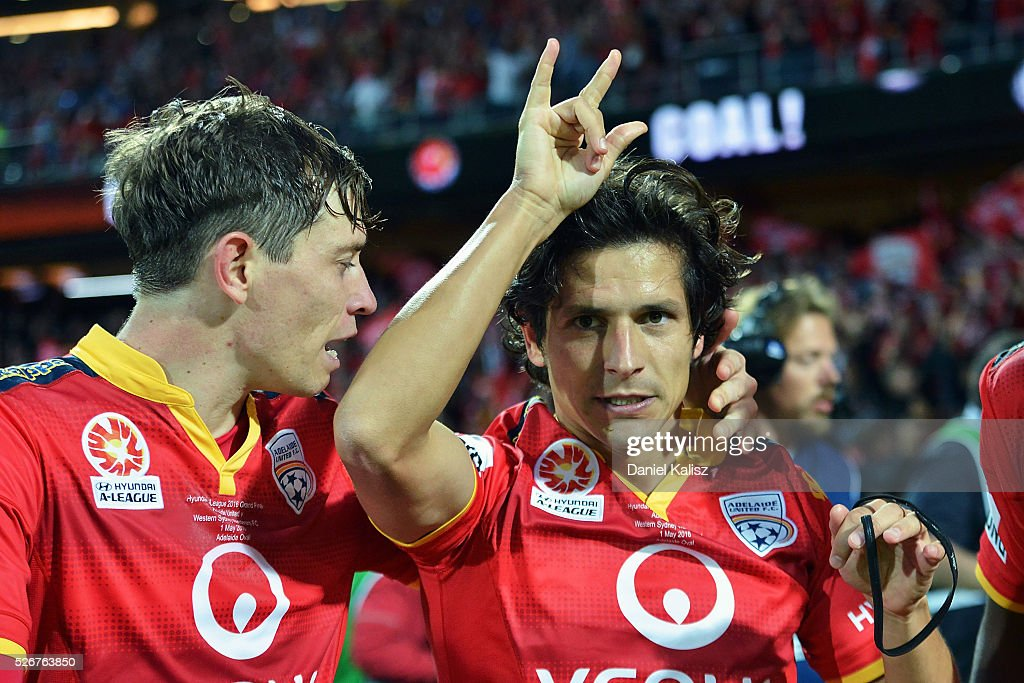 Pablo Sanchez Alberto of United reacts after scoring a goal during the 2015/16 A-League Grand Final match between Adelaide United and the Western Sydney Wanderers at Adelaide Oval on May 1, 2016 in Adelaide, Australia.