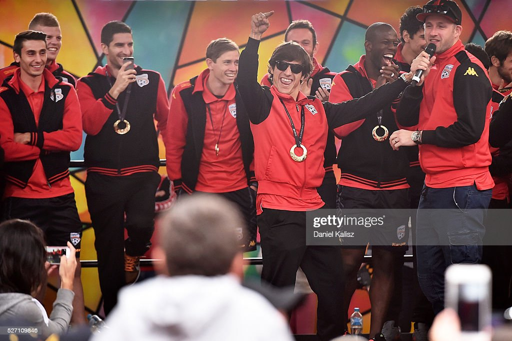 Pablo Sanchez Alberto of United reacts on stage to the crowd during the Adelaide United A-League Grand Final at Rundle Mall on May 2, 2016 in Adelaide, Australia.