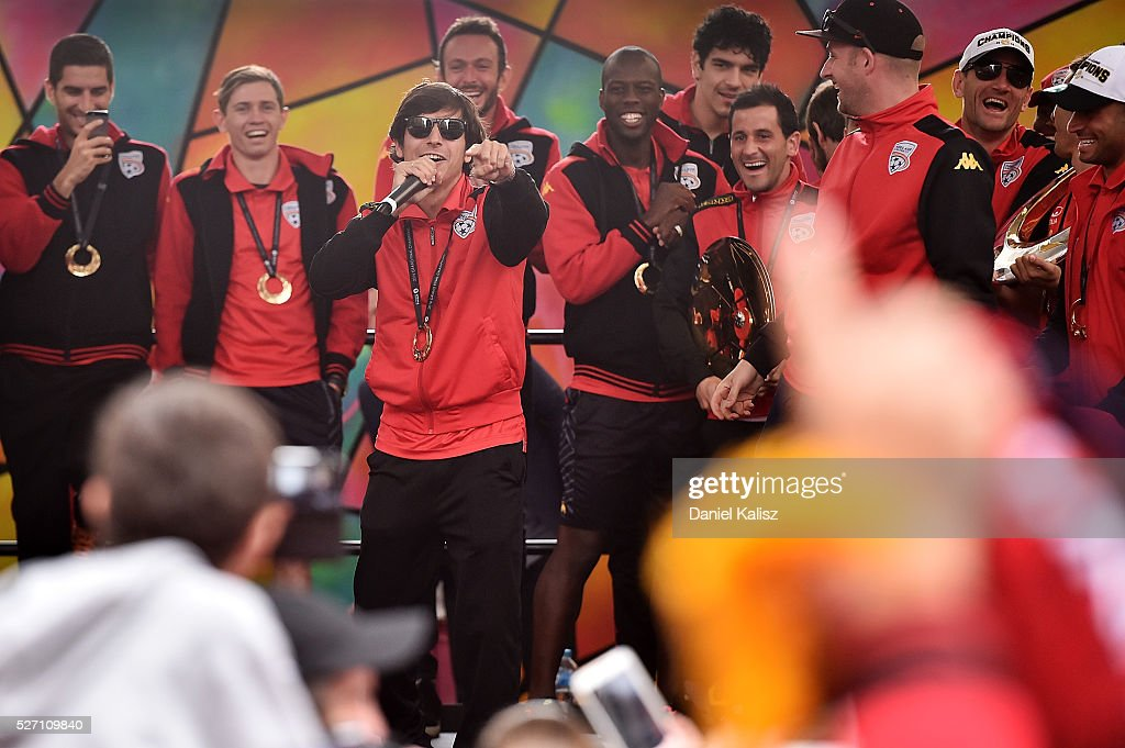 Pablo Sanchez Alberto of United speaks to the crowd during the Adelaide United A-League Grand Final at Rundle Mall on May 2, 2016 in Adelaide, Australia.