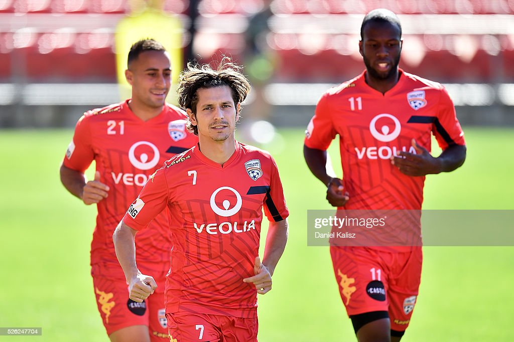 Pablo Sanchez Alberto of United warms up during an Adelaide United A-League training session at Coopers Stadium on April 30, 2016 in Adelaide, Australia.