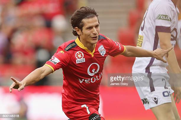 Pablo Sanchez of Adelaide celebrates a goal during the round nine ALeague match between Adelaide United and Perth Glory at Coopers Stadium on...