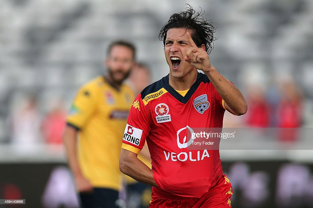 Pablo Sanchez of Adelaide celebrates after scoring a goal during the round seven ALeague match between the Central Coast Mariners and Adelaide United...